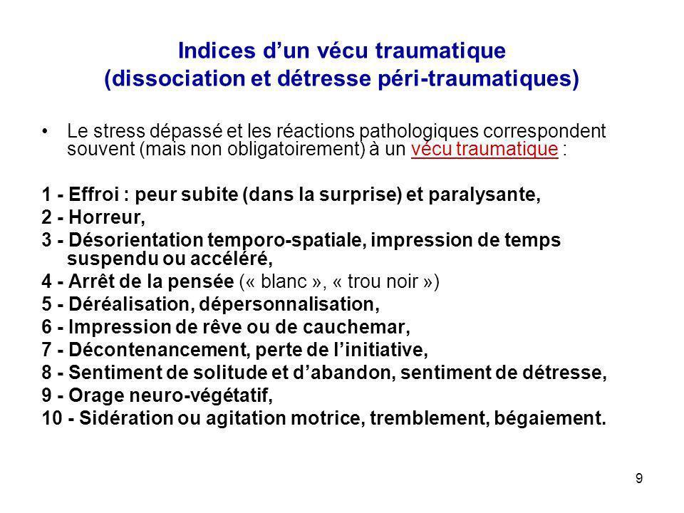 9 Indices dun vécu traumatique (dissociation et détresse péri-traumatiques) Le stress dépassé et les réactions pathologiques correspondent souvent (ma