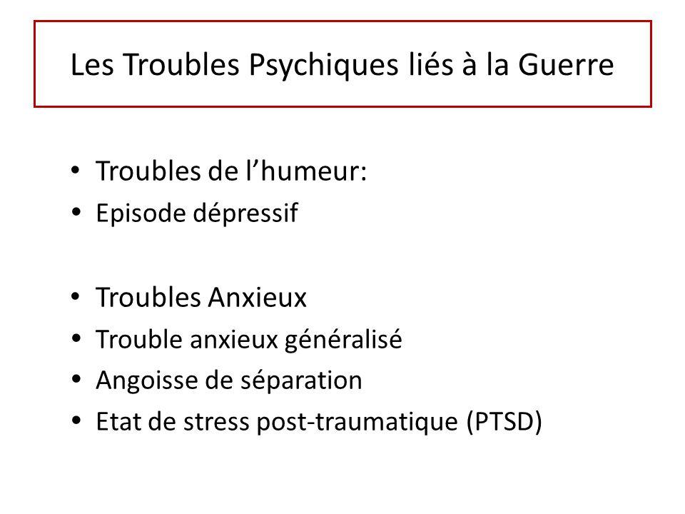 Troubles de lhumeur: Episode dépressif Troubles Anxieux Trouble anxieux généralisé Angoisse de séparation Etat de stress post-traumatique (PTSD) Les T