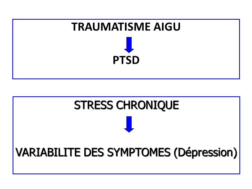 TRAUMATISME AIGU PTSD STRESS CHRONIQUE VARIABILITE DES SYMPTOMES (Dépression)