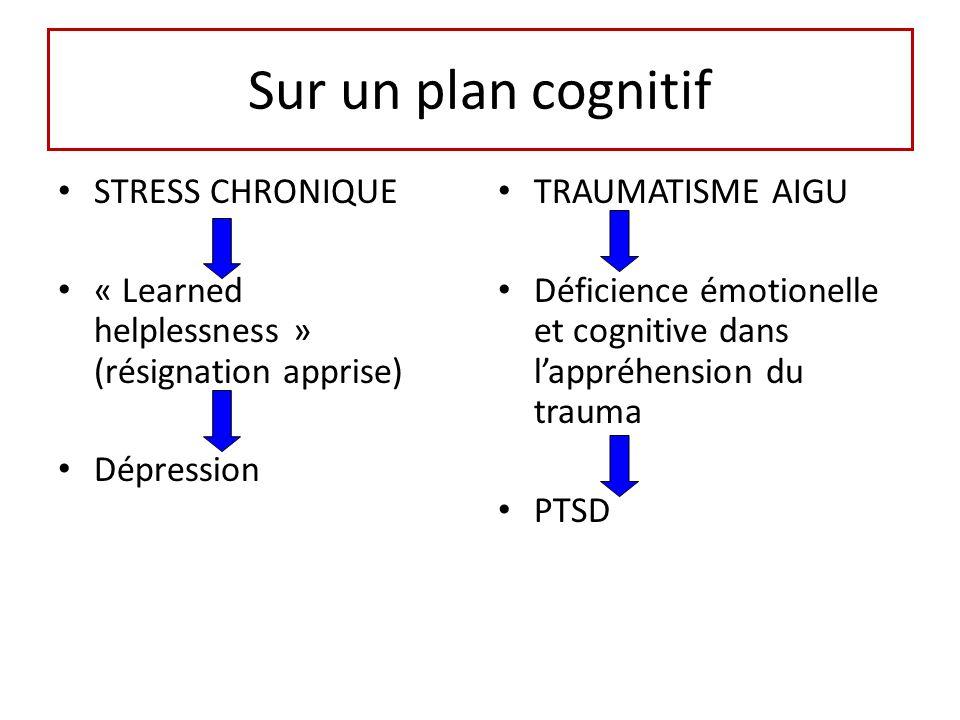Sur un plan cognitif STRESS CHRONIQUE « Learned helplessness » (résignation apprise) Dépression TRAUMATISME AIGU Déficience émotionelle et cognitive dans lappréhension du trauma PTSD
