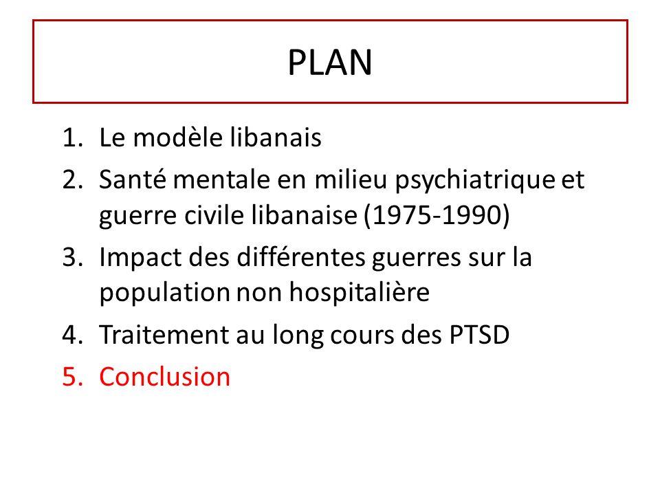 PLAN 1.Le modèle libanais 2.Santé mentale en milieu psychiatrique et guerre civile libanaise (1975-1990) 3.Impact des différentes guerres sur la population non hospitalière 4.Traitement au long cours des PTSD 5.Conclusion