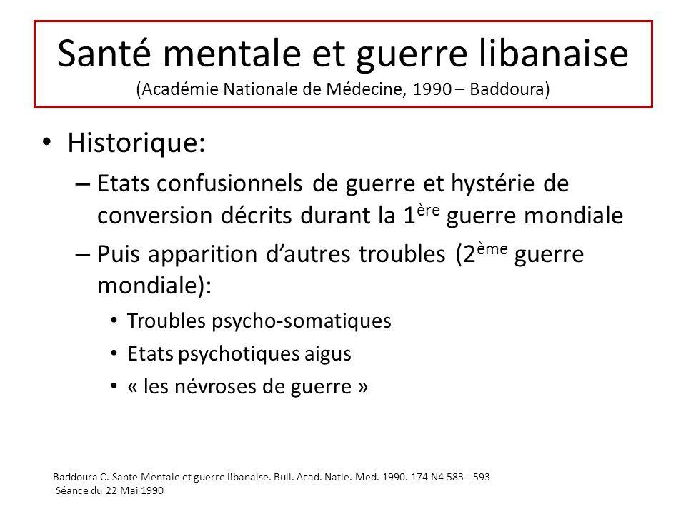 Santé mentale et guerre libanaise (Académie Nationale de Médecine, 1990 – Baddoura) Historique: – Etats confusionnels de guerre et hystérie de convers