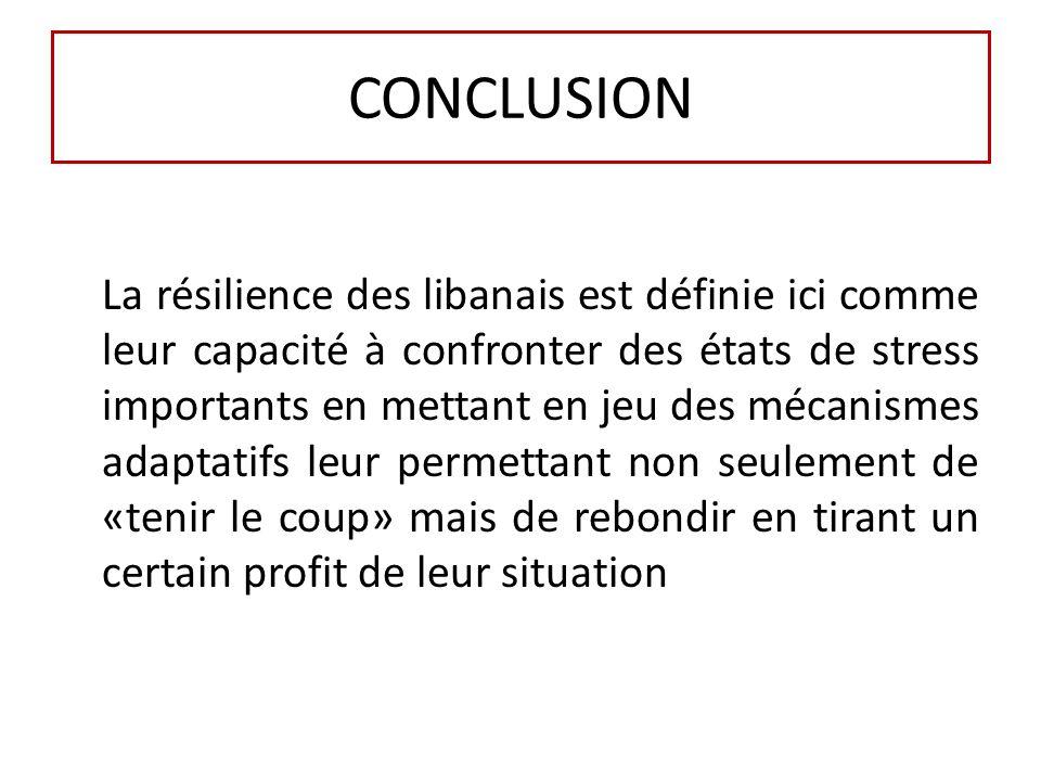 CONCLUSION La résilience des libanais est définie ici comme leur capacité à confronter des états de stress importants en mettant en jeu des mécanismes adaptatifs leur permettant non seulement de «tenir le coup» mais de rebondir en tirant un certain profit de leur situation