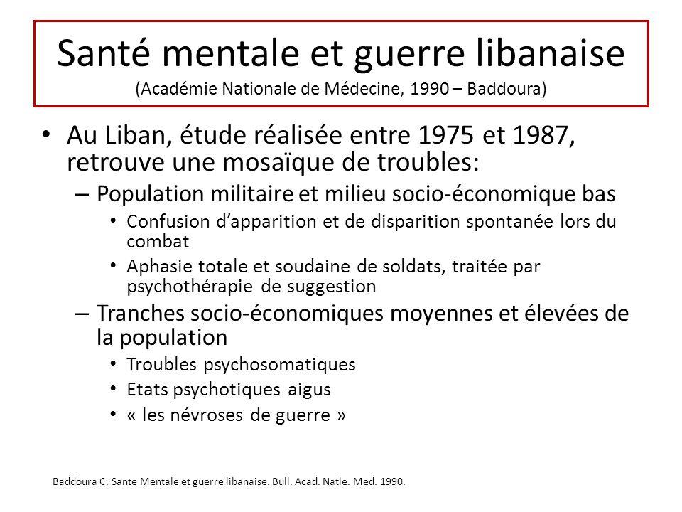 Santé mentale et guerre libanaise (Académie Nationale de Médecine, 1990 – Baddoura) Au Liban, étude réalisée entre 1975 et 1987, retrouve une mosaïque