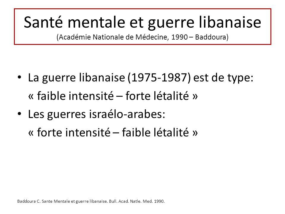 Santé mentale et guerre libanaise (Académie Nationale de Médecine, 1990 – Baddoura) La guerre libanaise (1975-1987) est de type: « faible intensité –