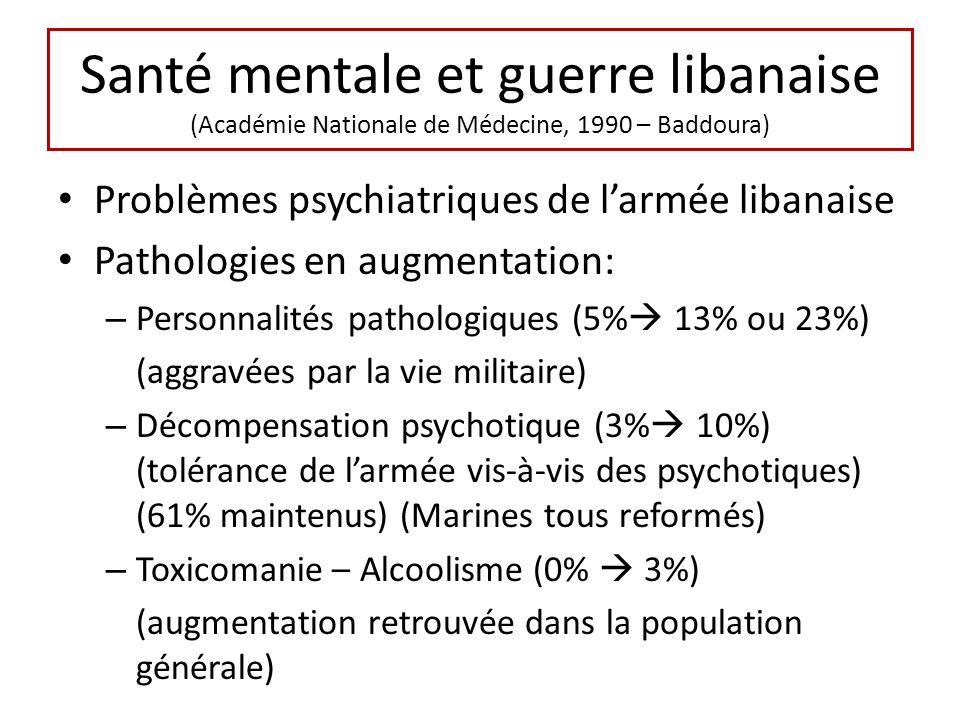 Santé mentale et guerre libanaise (Académie Nationale de Médecine, 1990 – Baddoura) Problèmes psychiatriques de larmée libanaise Pathologies en augmentation: – Personnalités pathologiques (5% 13% ou 23%) (aggravées par la vie militaire) – Décompensation psychotique (3% 10%) (tolérance de larmée vis-à-vis des psychotiques) (61% maintenus) (Marines tous reformés) – Toxicomanie – Alcoolisme (0% 3%) (augmentation retrouvée dans la population générale)