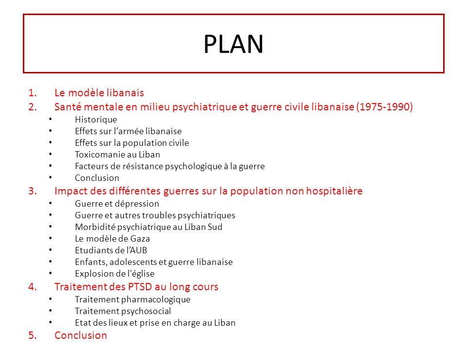 PLAN 1.Le modèle libanais 2.Santé mentale en milieu psychiatrique et guerre civile libanaise (1975-1990) Historique Effets sur larmée libanaise Effets