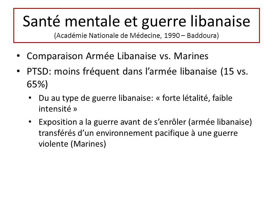 Santé mentale et guerre libanaise (Académie Nationale de Médecine, 1990 – Baddoura) Comparaison Armée Libanaise vs. Marines PTSD: moins fréquent dans