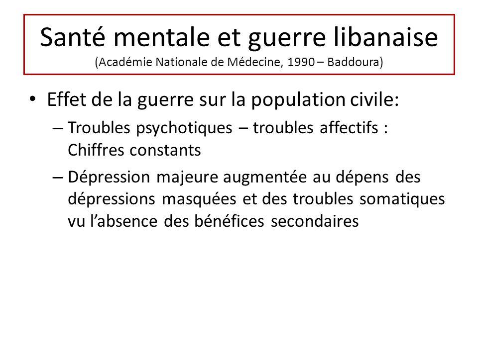 Santé mentale et guerre libanaise (Académie Nationale de Médecine, 1990 – Baddoura) Effet de la guerre sur la population civile: – Troubles psychotiqu