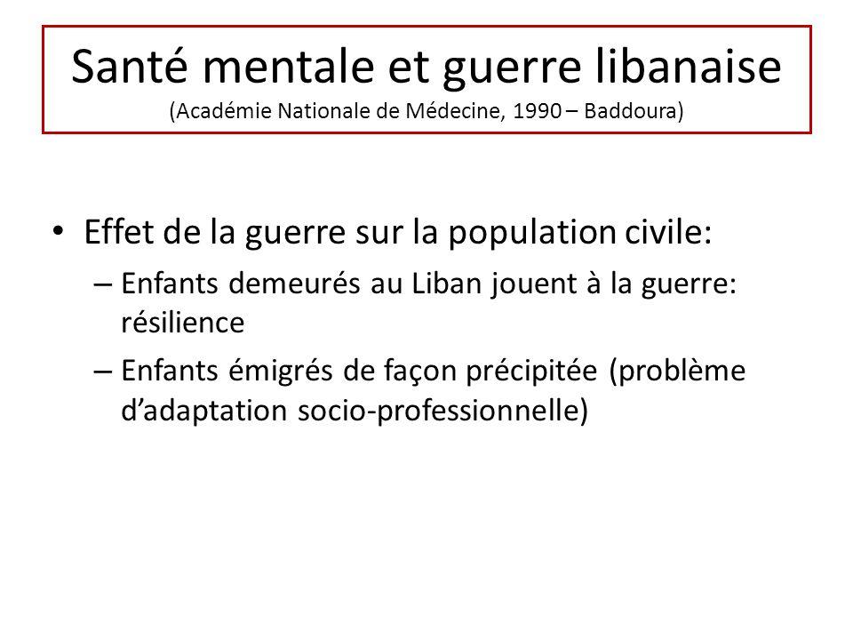 Santé mentale et guerre libanaise (Académie Nationale de Médecine, 1990 – Baddoura) Effet de la guerre sur la population civile: – Enfants demeurés au