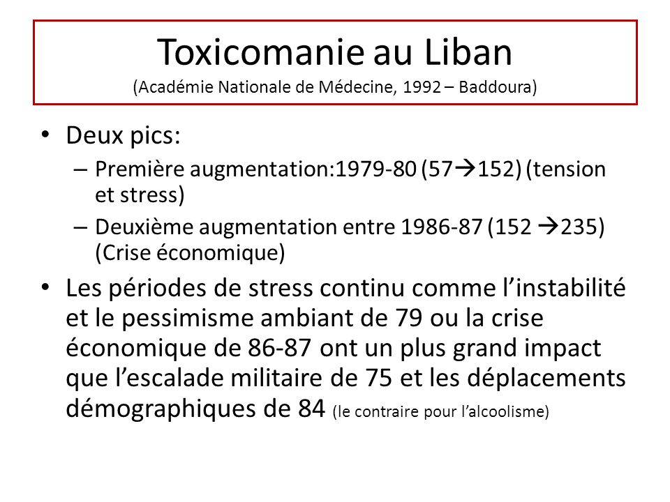 Toxicomanie au Liban (Académie Nationale de Médecine, 1992 – Baddoura) Deux pics: – Première augmentation:1979-80 (57 152) (tension et stress) – Deuxième augmentation entre 1986-87 (152 235) (Crise économique) Les périodes de stress continu comme linstabilité et le pessimisme ambiant de 79 ou la crise économique de 86-87 ont un plus grand impact que lescalade militaire de 75 et les déplacements démographiques de 84 (le contraire pour lalcoolisme)
