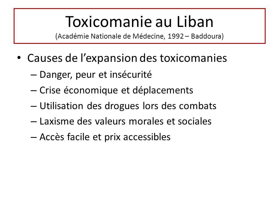 Causes de lexpansion des toxicomanies – Danger, peur et insécurité – Crise économique et déplacements – Utilisation des drogues lors des combats – Lax