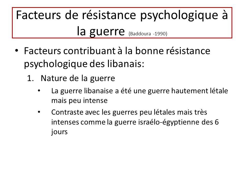 Facteurs de résistance psychologique à la guerre (Baddoura -1990) Facteurs contribuant à la bonne résistance psychologique des libanais: 1.Nature de l
