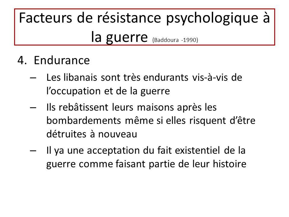 Facteurs de résistance psychologique à la guerre (Baddoura -1990) 4.Endurance – Les libanais sont très endurants vis-à-vis de loccupation et de la gue