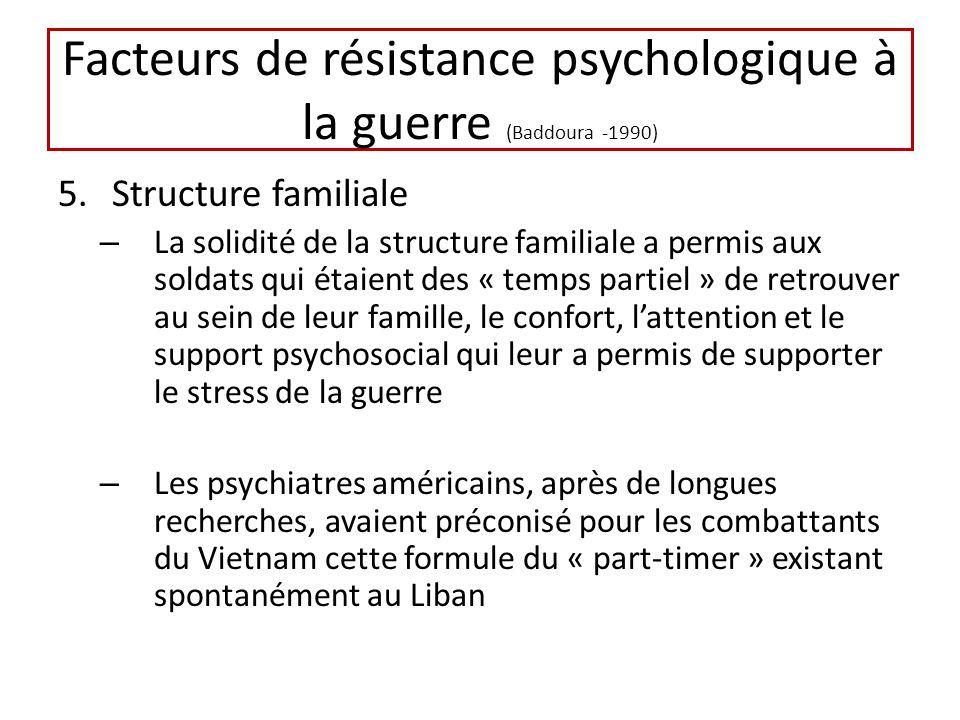 Facteurs de résistance psychologique à la guerre (Baddoura -1990) 5.Structure familiale – La solidité de la structure familiale a permis aux soldats qui étaient des « temps partiel » de retrouver au sein de leur famille, le confort, lattention et le support psychosocial qui leur a permis de supporter le stress de la guerre – Les psychiatres américains, après de longues recherches, avaient préconisé pour les combattants du Vietnam cette formule du « part-timer » existant spontanément au Liban