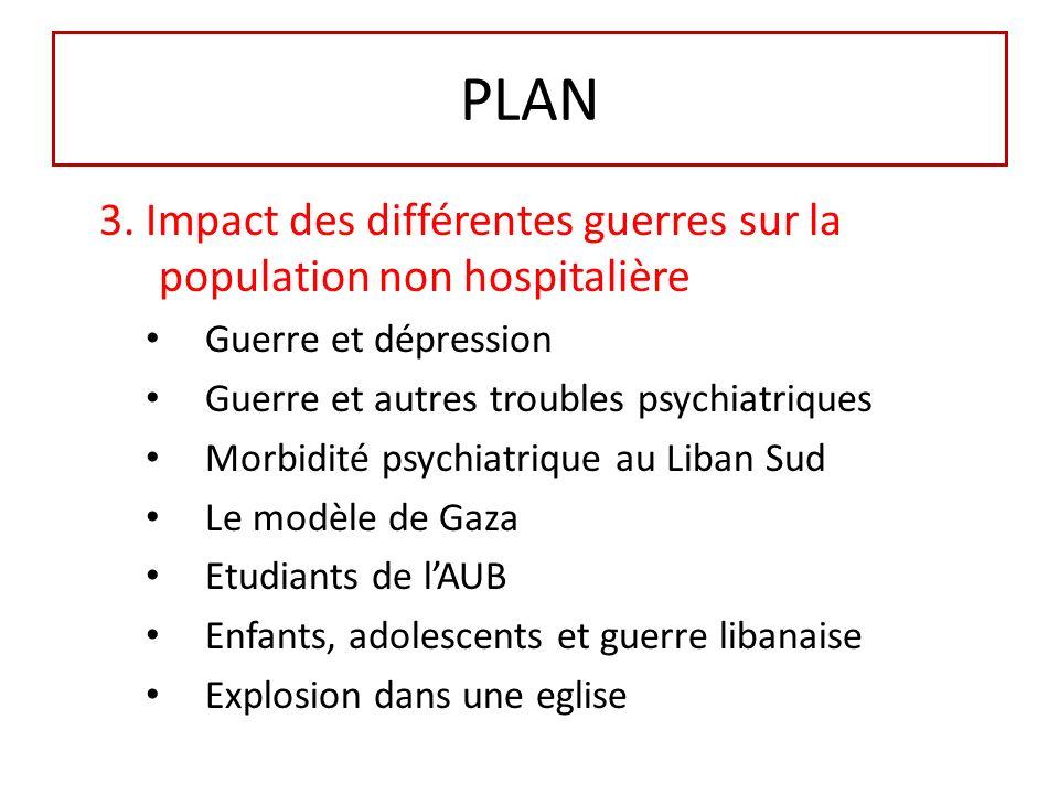 PLAN 3. Impact des différentes guerres sur la population non hospitalière Guerre et dépression Guerre et autres troubles psychiatriques Morbidité psyc