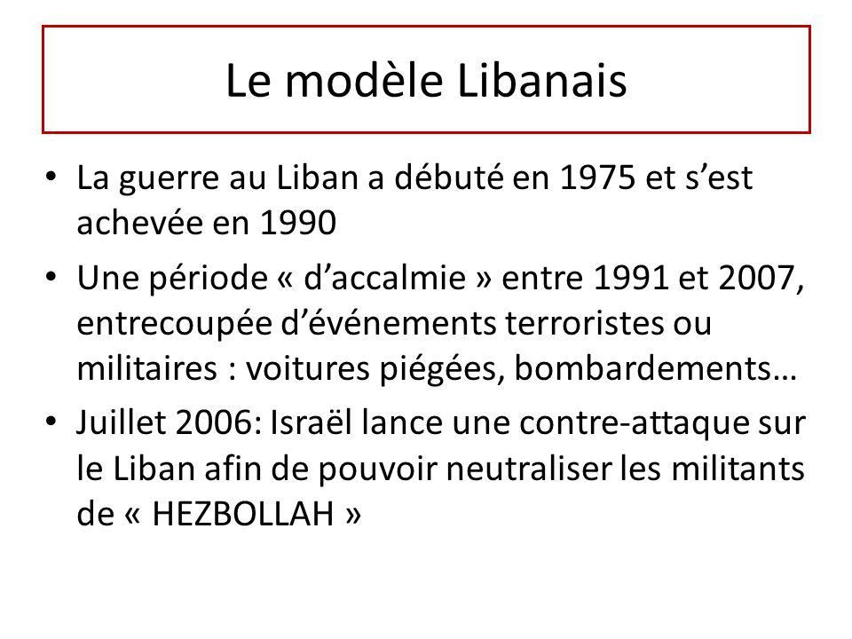 Le modèle Libanais La guerre au Liban a débuté en 1975 et sest achevée en 1990 Une période « daccalmie » entre 1991 et 2007, entrecoupée dévénements terroristes ou militaires : voitures piégées, bombardements… Juillet 2006: Israël lance une contre-attaque sur le Liban afin de pouvoir neutraliser les militants de « HEZBOLLAH »