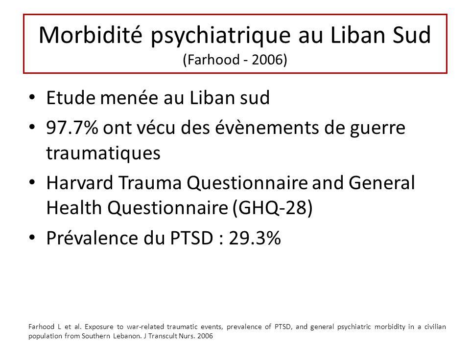 Morbidité psychiatrique au Liban Sud (Farhood - 2006) Etude menée au Liban sud 97.7% ont vécu des évènements de guerre traumatiques Harvard Trauma Que