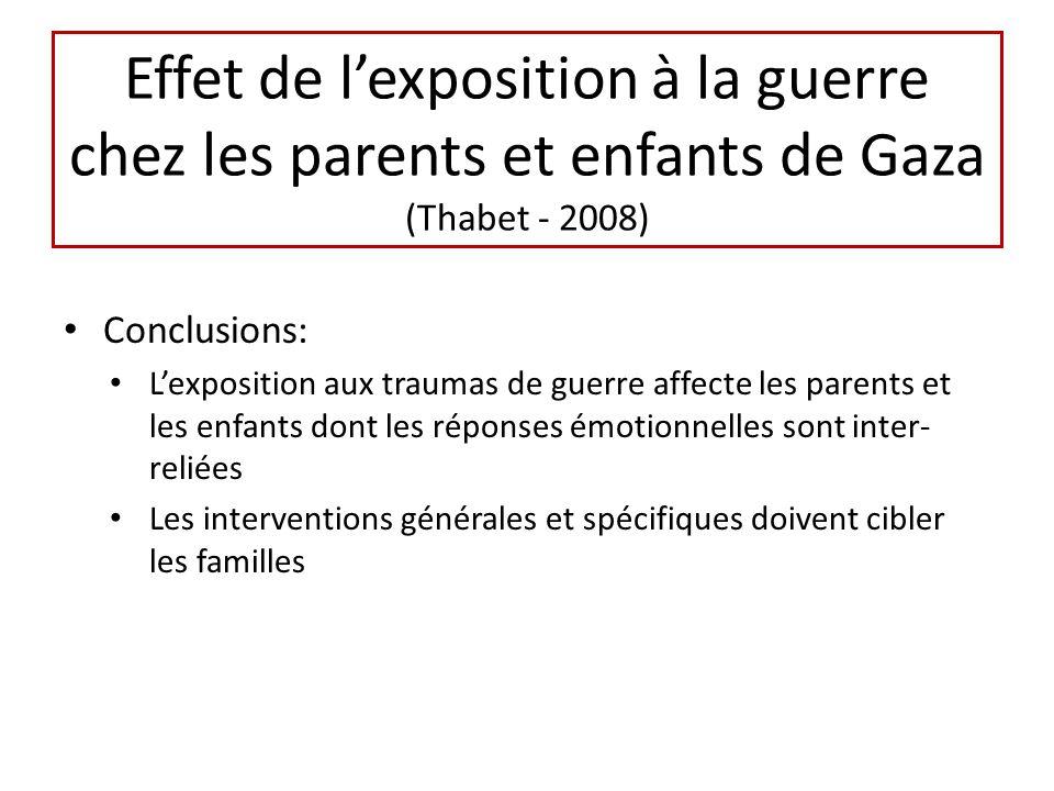 Effet de lexposition à la guerre chez les parents et enfants de Gaza (Thabet - 2008) Conclusions: Lexposition aux traumas de guerre affecte les parents et les enfants dont les réponses émotionnelles sont inter- reliées Les interventions générales et spécifiques doivent cibler les familles