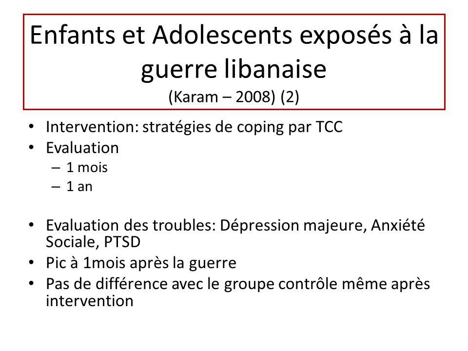 Enfants et Adolescents exposés à la guerre libanaise (Karam – 2008) (2) Intervention: stratégies de coping par TCC Evaluation – 1 mois – 1 an Evaluati