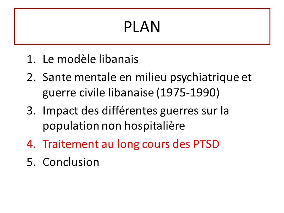 PLAN 1.Le modèle libanais 2.Sante mentale en milieu psychiatrique et guerre civile libanaise (1975-1990) 3.Impact des différentes guerres sur la population non hospitalière 4.Traitement au long cours des PTSD 5.Conclusion