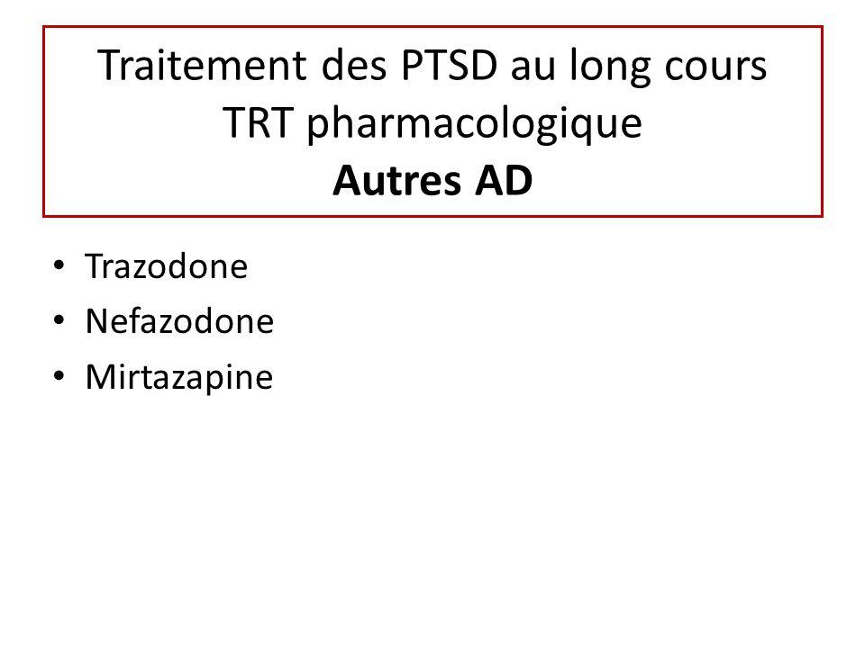 Traitement des PTSD au long cours TRT pharmacologique Autres AD Trazodone Nefazodone Mirtazapine