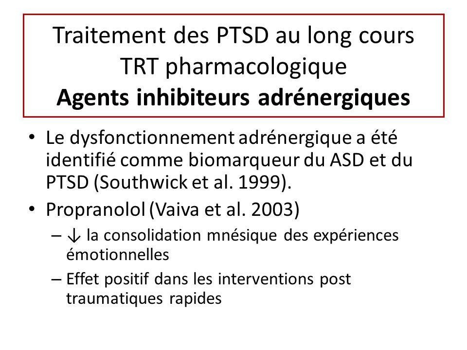 Traitement des PTSD au long cours TRT pharmacologique Agents inhibiteurs adrénergiques Le dysfonctionnement adrénergique a été identifié comme biomarqueur du ASD et du PTSD (Southwick et al.