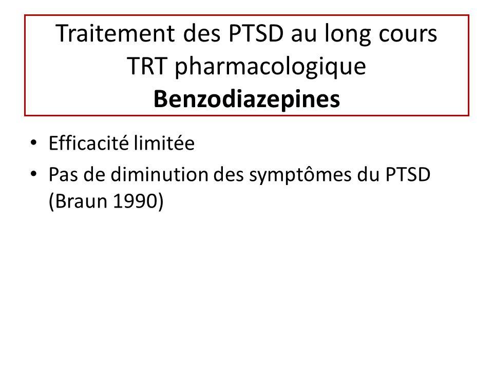 Traitement des PTSD au long cours TRT pharmacologique Benzodiazepines Efficacité limitée Pas de diminution des symptômes du PTSD (Braun 1990)