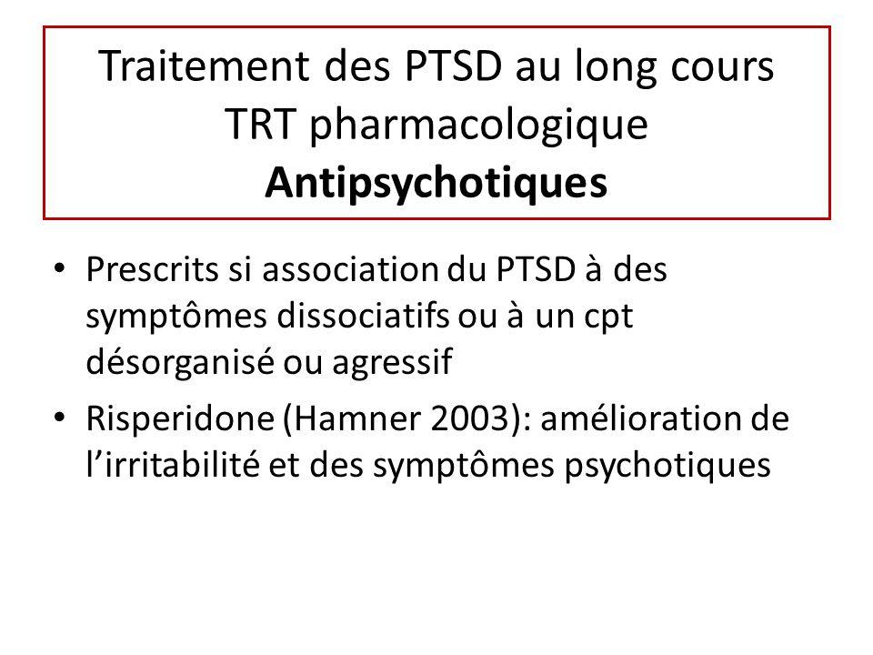 Traitement des PTSD au long cours TRT pharmacologique Antipsychotiques Prescrits si association du PTSD à des symptômes dissociatifs ou à un cpt désorganisé ou agressif Risperidone (Hamner 2003): amélioration de lirritabilité et des symptômes psychotiques
