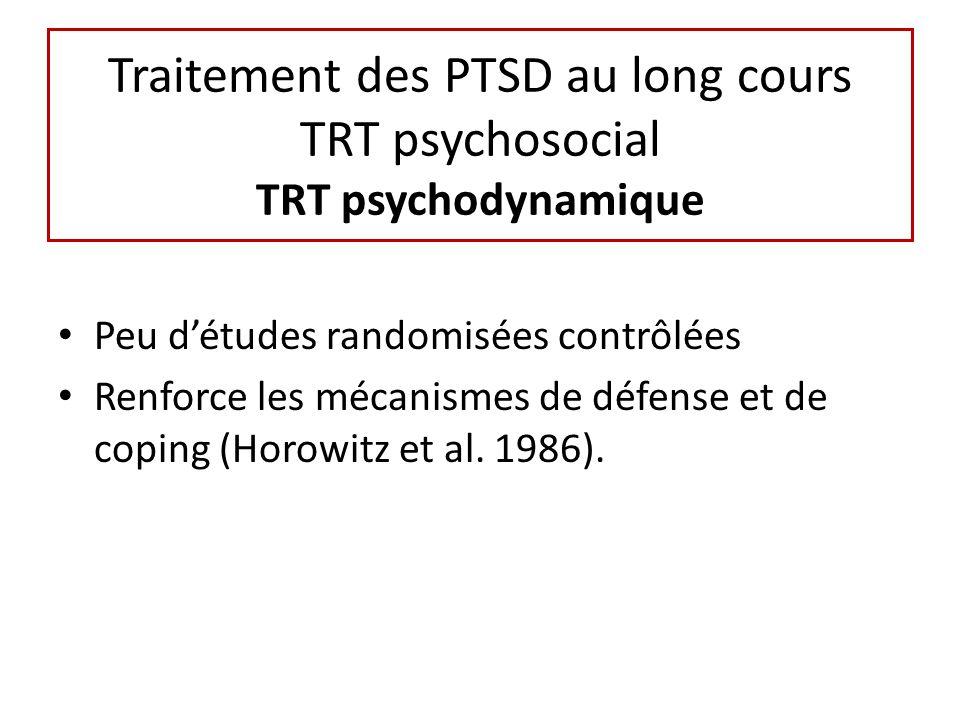 Traitement des PTSD au long cours TRT psychosocial TRT psychodynamique Peu détudes randomisées contrôlées Renforce les mécanismes de défense et de coping (Horowitz et al.