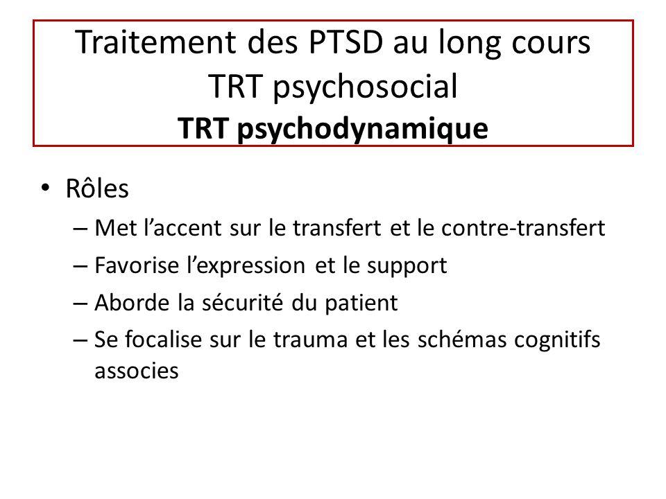 Traitement des PTSD au long cours TRT psychosocial TRT psychodynamique Rôles – Met laccent sur le transfert et le contre-transfert – Favorise lexpression et le support – Aborde la sécurité du patient – Se focalise sur le trauma et les schémas cognitifs associes