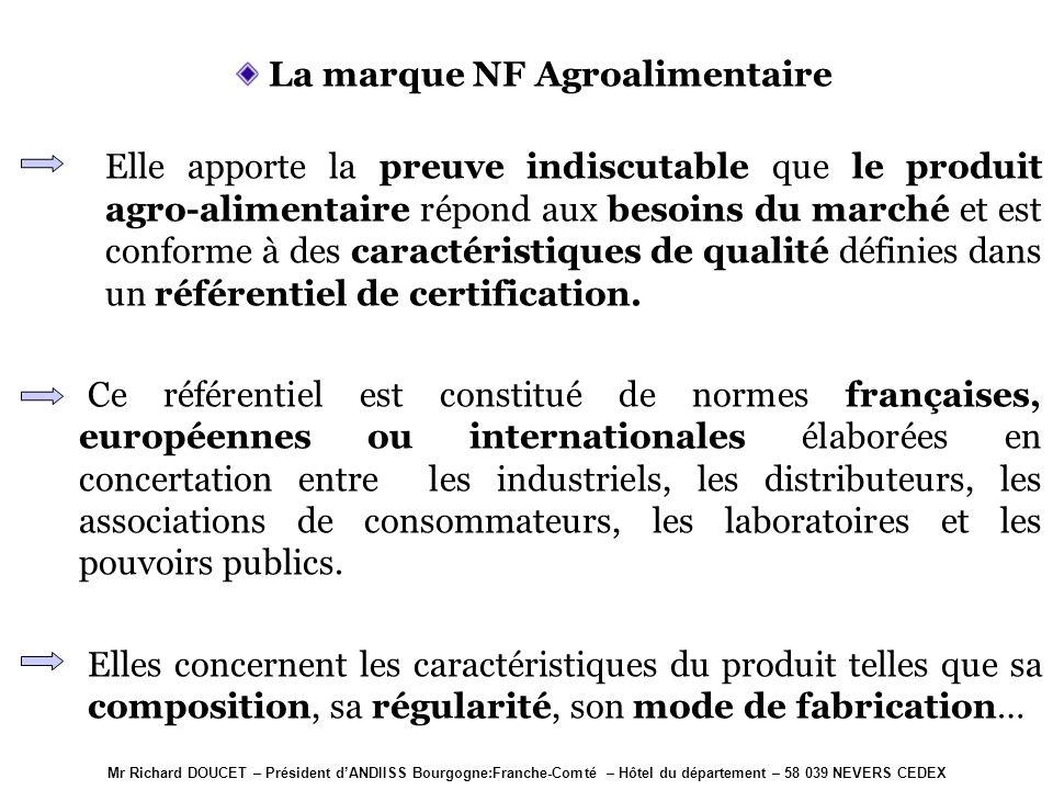 Mr Richard DOUCET – Président dANDIISS Bourgogne:Franche-Comté – Hôtel du département – 58 039 NEVERS CEDEX La marque NF Environnement Elle est la cer