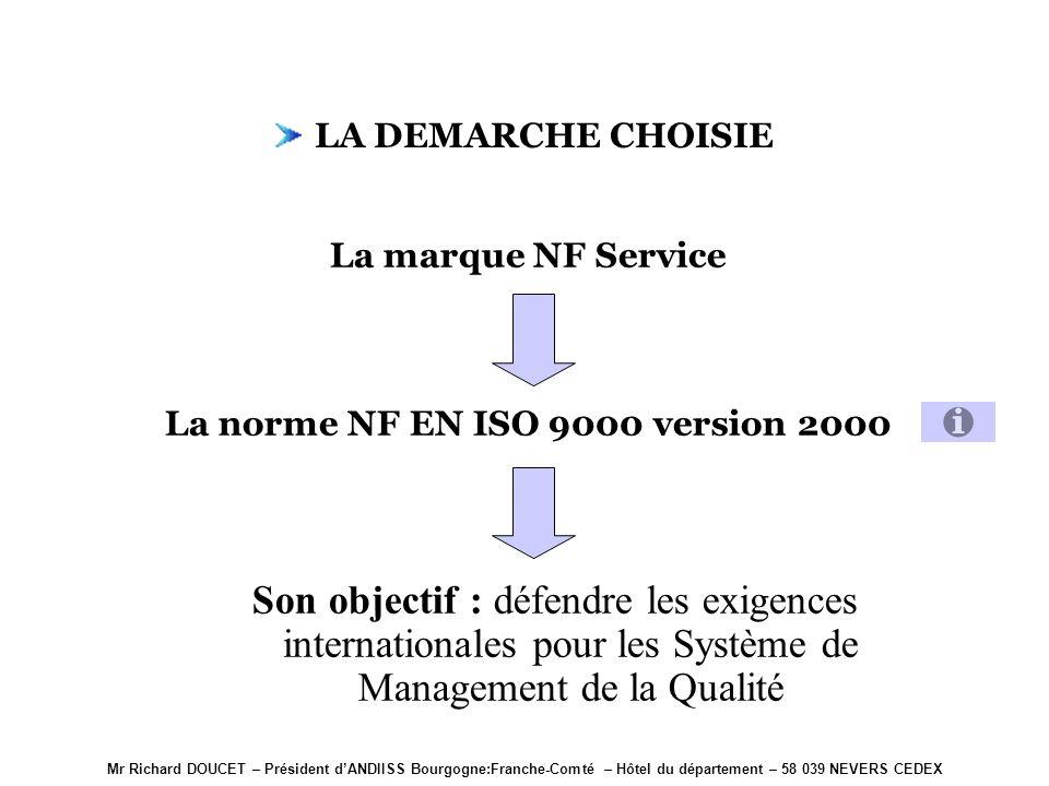 Mr Richard DOUCET – Président dANDIISS Bourgogne:Franche-Comté – Hôtel du département – 58 039 NEVERS CEDEX La marque NF Service Elle sappuie sur les