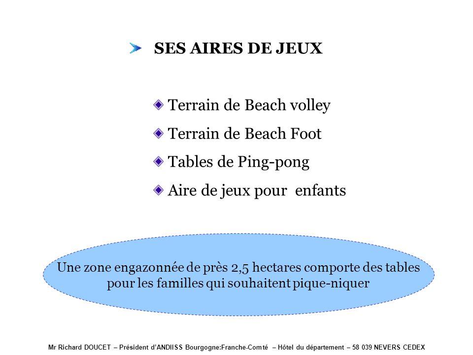 Mr Richard DOUCET – Président dANDIISS Bourgogne:Franche-Comté – Hôtel du département – 58 039 NEVERS CEDEX SES AIRES DE JEUX Terrain de Beach volley Terrain de Beach Foot Tables de Ping-pong Aire de jeux pour enfants Une zone engazonnée de près 2,5 hectares comporte des tables pour les familles qui souhaitent pique-niquer