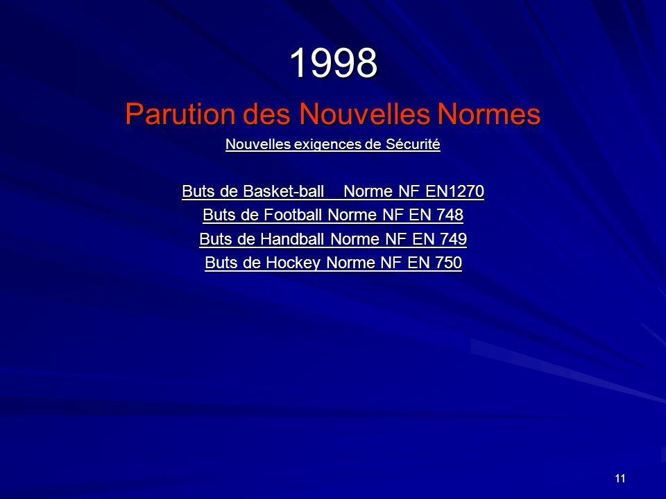 11 1998 Parution des Nouvelles Normes Nouvelles exigences de Sécurité Buts de Basket-ball Norme NF EN1270 Buts de Football Norme NF EN 748 Buts de Han