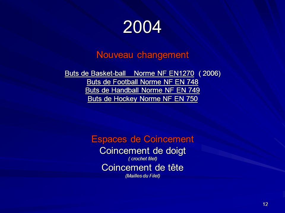 12 2004 Nouveau changement Buts de Basket-ball Norme NF EN1270 ( 2006) Buts de Football Norme NF EN 748 Buts de Handball Norme NF EN 749 Buts de Hocke