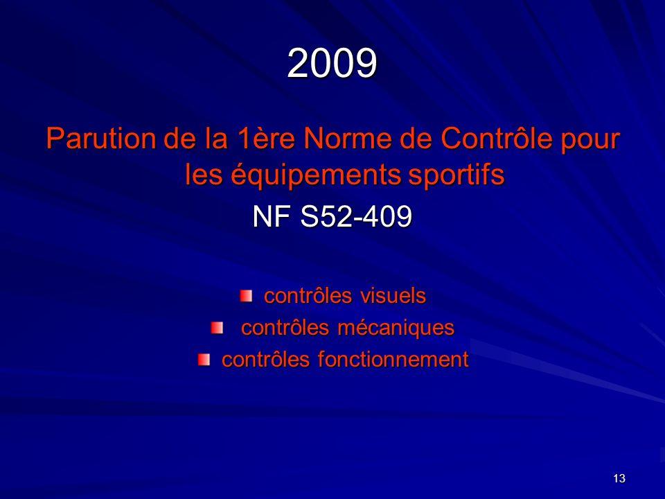 13 2009 Parution de la 1ère Norme de Contrôle pour les équipements sportifs NF S52-409 contrôles visuels contrôles mécaniques contrôles mécaniques con