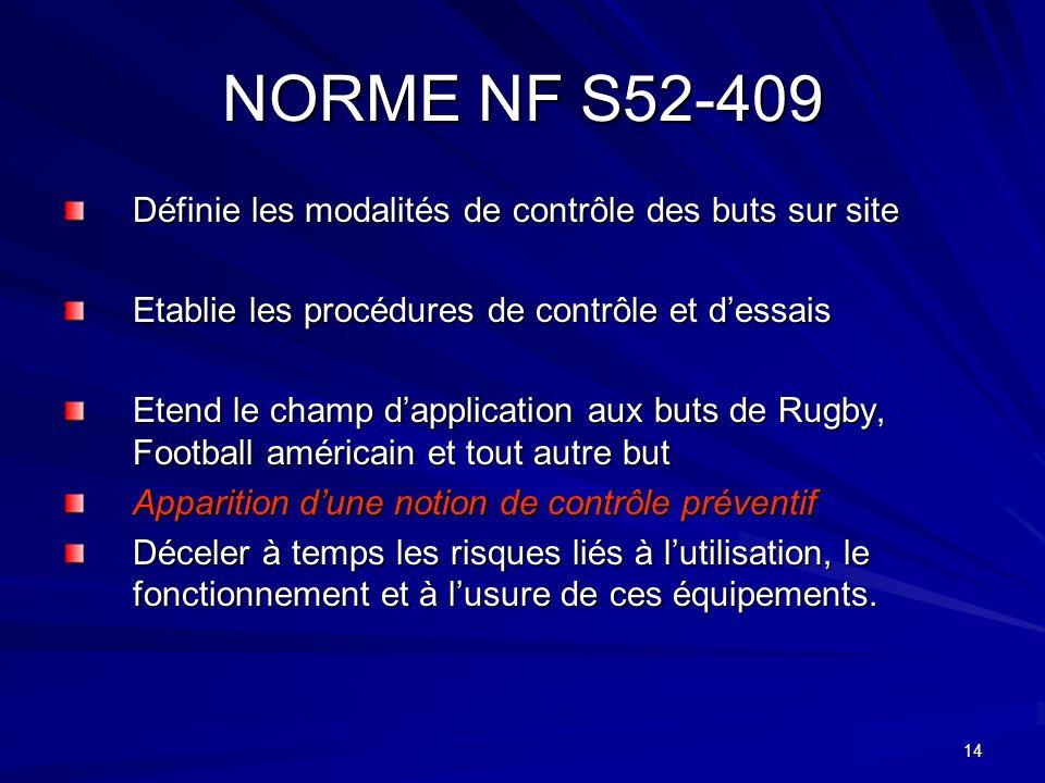 14 NORME NF S52-409 Définie les modalités de contrôle des buts sur site Etablie les procédures de contrôle et dessais Etend le champ dapplication aux