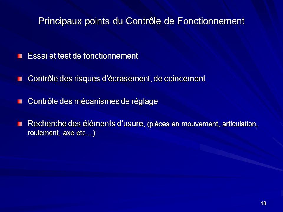 18 Principaux points du Contrôle de Fonctionnement Essai et test de fonctionnement Contrôle des risques décrasement, de coincement Contrôle des mécani