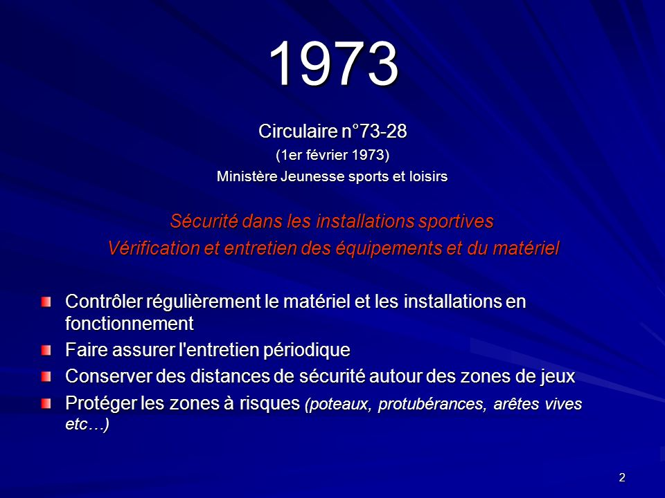 2 1973 Circulaire n°73-28 (1er février 1973) Ministère Jeunesse sports et loisirs Sécurité dans les installations sportives Sécurité dans les installa