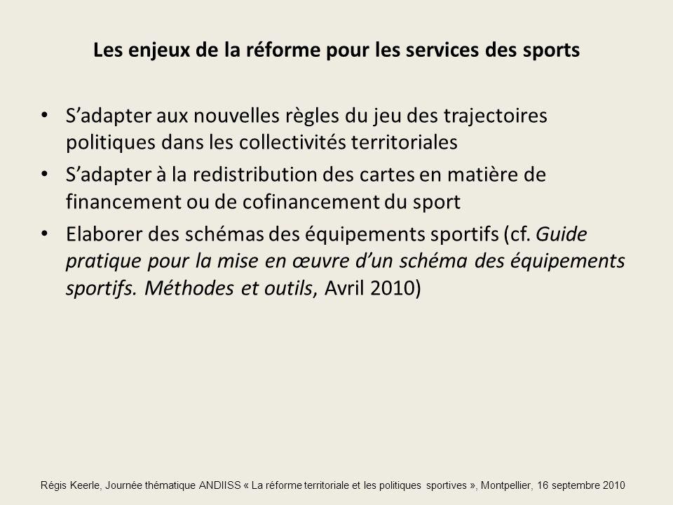 Les enjeux de la réforme pour les services des sports Sadapter aux nouvelles règles du jeu des trajectoires politiques dans les collectivités territoriales Sadapter à la redistribution des cartes en matière de financement ou de cofinancement du sport Elaborer des schémas des équipements sportifs (cf.