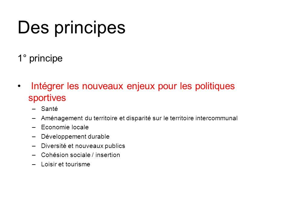 Des principes 1° principe Intégrer les nouveaux enjeux pour les politiques sportives –Santé –Aménagement du territoire et disparité sur le territoire intercommunal –Economie locale –Développement durable –Diversité et nouveaux publics –Cohésion sociale / insertion –Loisir et tourisme