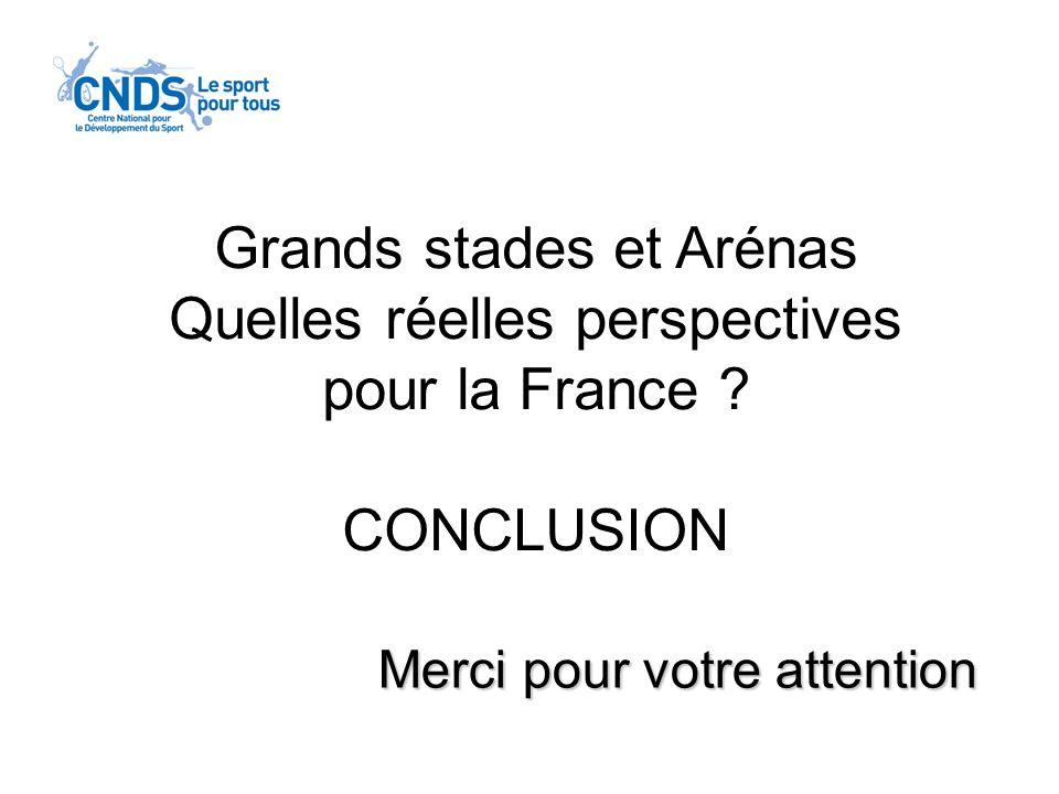 Merci pour votre attention Grands stades et Arénas Quelles réelles perspectives pour la France ? CONCLUSION