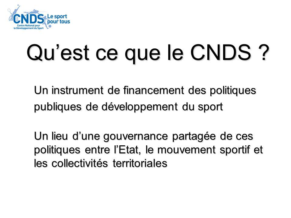 3 3 grandes missions pour le CNDS le développement de la pratique sportive par tous les publics subventions aux associations sportives laménagement du territoire dans le domaine sportif subventions déquipement la promotion du rayonnement international du sport français subventions au CNOSF et grandes manifestations