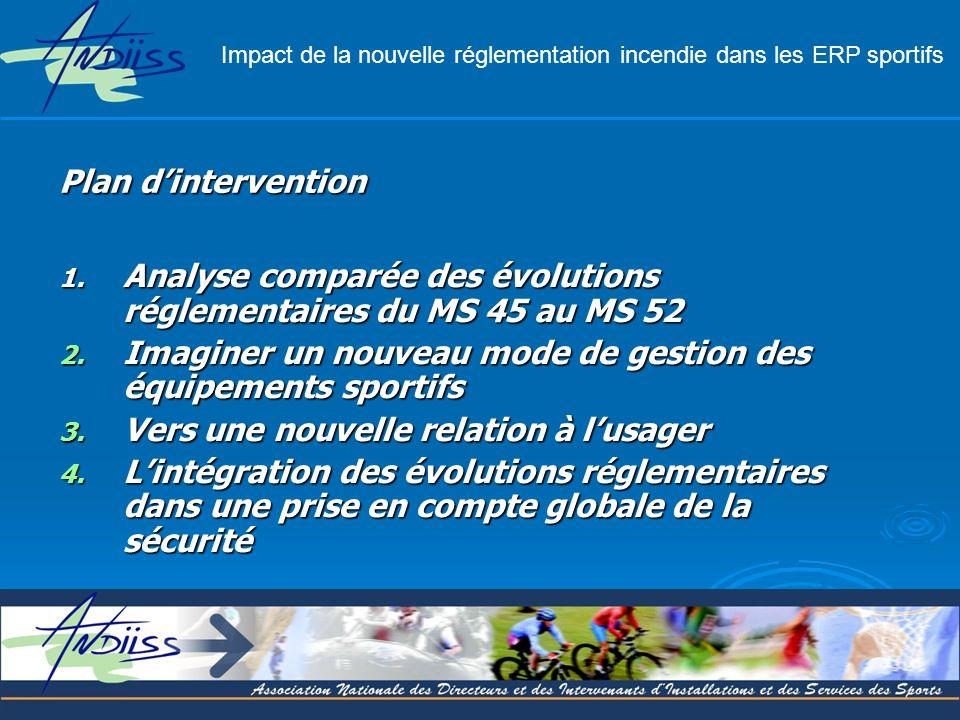 1. Analyse comparée des évolutions réglementaires du MS 45 au MS 52 2. Imaginer un nouveau mode de gestion des équipements sportifs 3. Vers une nouvel