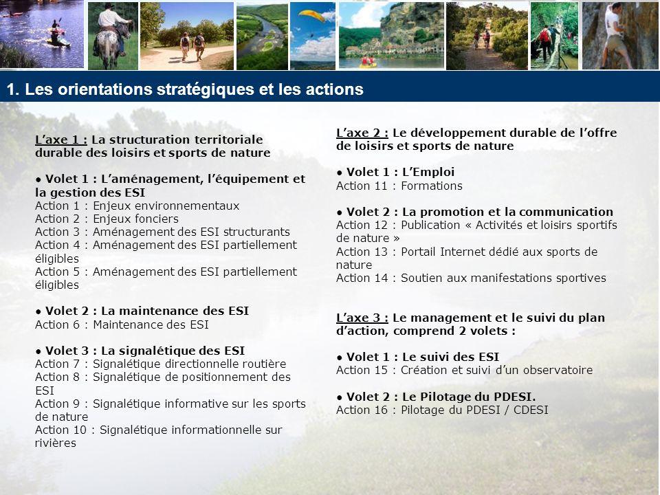 1. Les orientations stratégiques et les actions Laxe 1 : La structuration territoriale durable des loisirs et sports de nature Volet 1 : Laménagement,