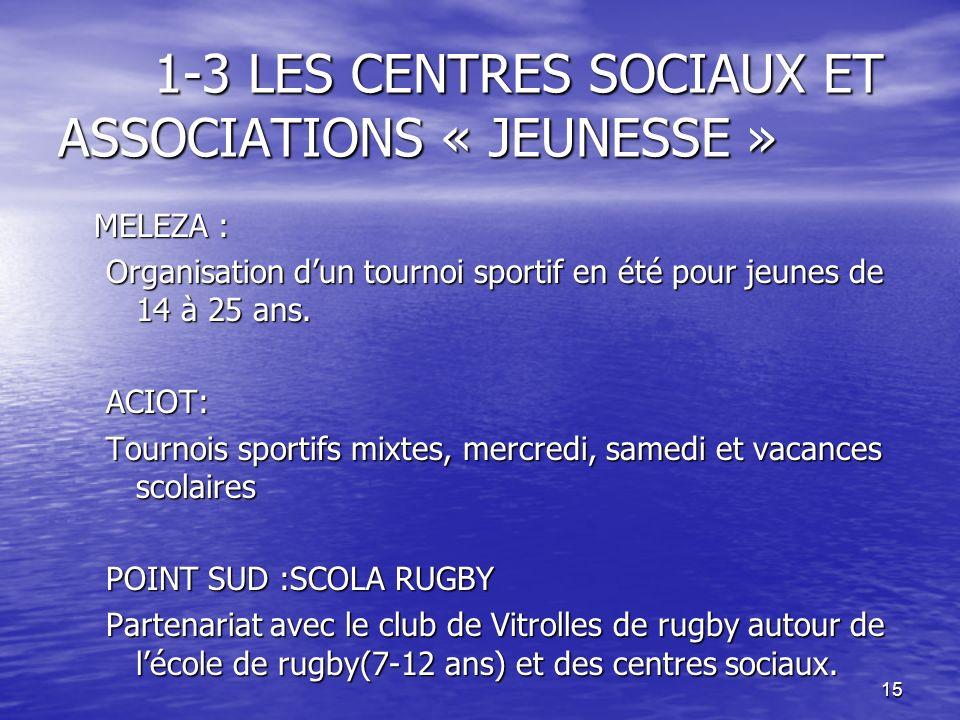 15 1-3 LES CENTRES SOCIAUX ET ASSOCIATIONS « JEUNESSE » MELEZA : Organisation dun tournoi sportif en été pour jeunes de 14 à 25 ans. ACIOT: Tournois s