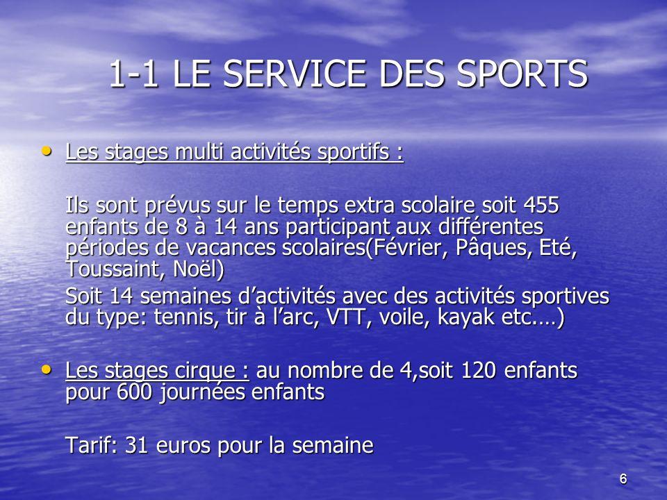 6 1-1 LE SERVICE DES SPORTS Les stages multi activités sportifs : Les stages multi activités sportifs : Ils sont prévus sur le temps extra scolaire so