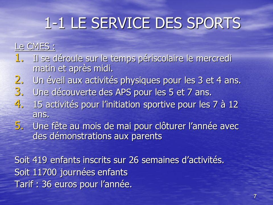 7 1-1 LE SERVICE DES SPORTS Le CMES : 1. Il se déroule sur le temps périscolaire le mercredi matin et après midi. 2. Un éveil aux activités physiques