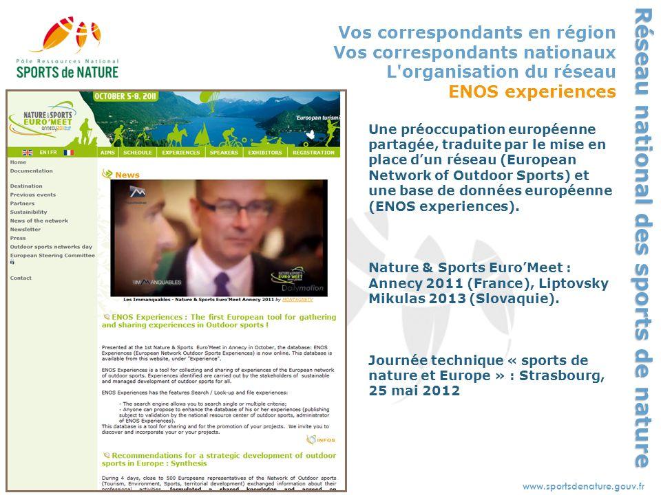 Sport - tourisme - environnement - territoireswww.sportsdenature.gouv.fr Réseau national des sports de nature Vos correspondants en région Vos corresp